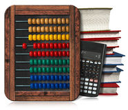 Abacus Books and Calculator. 3D illustration of a wooden and colorful abacus, a stack of books and a modern calculator. Isolated on white background Royalty Free Stock Image
