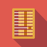 Abacus calculation flat icon. Colored image with long shadow on red background Stock Photography