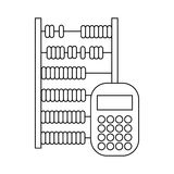 Abacus and calculator icon, outline style. Abacus and calculator icon in outline style on a white background stock illustration