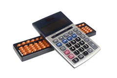 Abacus and calculator Royalty Free Stock Photography