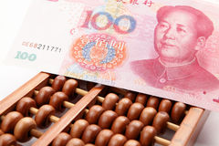Abacus and china banknote Stock Photography