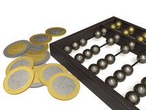 Abacus and coins. The old abacus and coins on a white plane Stock Images