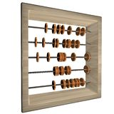 Abacus. With coins, isolated over white, 3d render, square image Stock Photos