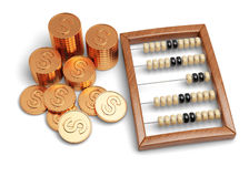 Abacus and coins. On white background Royalty Free Stock Image