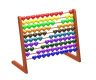 Abacus with colored hearts - 3d rendering. Isolated on withe background stock illustration