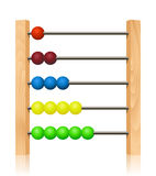 Abacus with colorful wooden beads. In front of white background Stock Photo