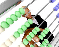 Abacus counting. Woman manipulating a colorful abacus stock illustration