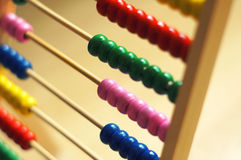 Abacus in detail. Colored abacus calculator in detail Stock Photos