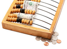 Abacus and dollar Royalty Free Stock Photography