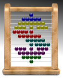 Abacus and dollar. An illustration of dollar shape made on a wooden abacus Stock Photo