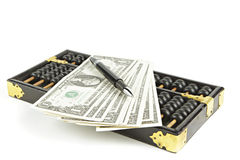 Abacus with dollar on isolate white Stock Images