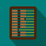 Abacus icon in flat style. On a blue background stock illustration