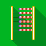 Abacus icon in flat style. On a green background Royalty Free Stock Photo