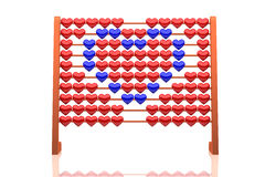 Abacus illustration of a blue heart - 3d rendering - isolated on white background. Abacus illustration of a blue heart - 3d rendering - small red and blue hearts Stock Photo