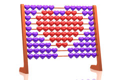 Abacus illustration of a red heart - 3d rendering - isolated on white background. Abacus illustration of a red heart - 3d rendering - red and purple hearts Royalty Free Stock Photos
