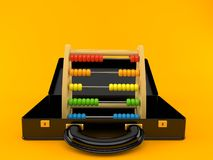Abacus inside briefcase. Isolated on orange background. 3d illustration stock illustration