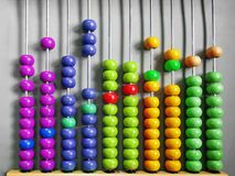 Abacus for Kids Practicing Counting with Colorful Wooden Beads. Abacus for Kids Practicing Counting with Vivid Colorful Wooden Beads royalty free stock image