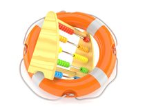 Abacus with life buoy. On white background Royalty Free Stock Photography