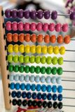 Abacus made of wood and steel stock photo