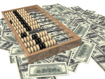 Abacus and money. One hundred dollar bill Royalty Free Stock Photography