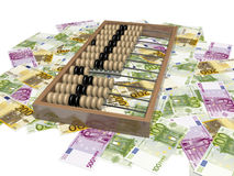 Abacus and money. Euro - money Europe, different banknotes Stock Image