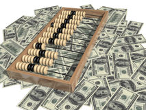 Abacus and money. One hundred dollar bill Royalty Free Stock Photo
