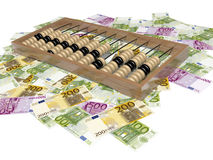 Abacus and money. Euro - money Europe, different banknotes Royalty Free Stock Photo