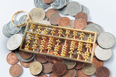 Abacus and Money coin. Bill cash smacker of Thailand Royalty Free Stock Photo