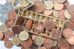 Abacus and Money coin. Bill cash smacker of Thailand Royalty Free Stock Photos