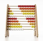 Abacus with multi colored beads isolated on white background. 3D illustration Royalty Free Stock Photo
