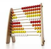 Abacus with multi colored beads isolated on white background. 3D illustration Royalty Free Stock Images