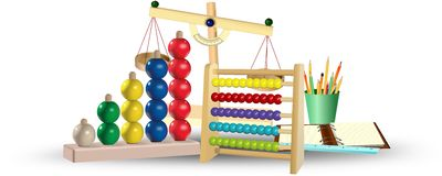 Abacus, notepad, pencils, ruler and scales. Educational tools. Education concept Stock Photo