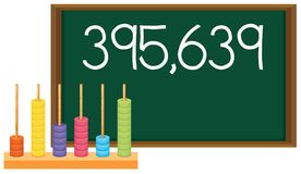 An abacus and number on blackboard. Illustration vector illustration