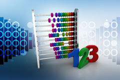 Abacus with numbers. In color background royalty free illustration