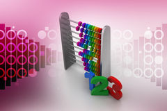 Abacus with numbers. In color background stock illustration