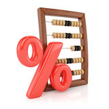 Abacus and percent sign. On white background. 3d render Royalty Free Stock Images