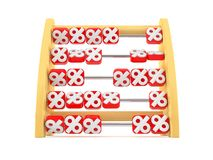 Abacus with percent symbols. Isolated on white background Royalty Free Stock Image