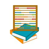 Abacus on a pile of books icon. Vector illustration design stock illustration