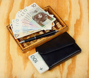 Abacus and polish money Stock Photos