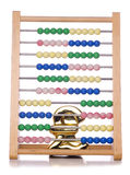 Abacus and pound sign. Studio cutout stock images