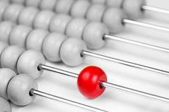 Abacus red bead closeup. Leadership concept. Royalty Free Stock Photo