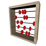 Abacus. With red discs, isolated over white, square image, 3d render Stock Images
