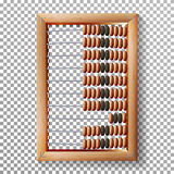 Abacus Set Vector. Realistic Illustration Of Classic Wooden Old Abacus. Arithmetic Tool Equipment. Isolated stock illustration
