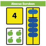 Abacus Soroban kids learn numbers with abacus, math worksheet for children. Vector Illustration Stock Photo