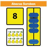Abacus Soroban kids learn numbers with abacus, math worksheet for children. Vector Illustration Stock Images