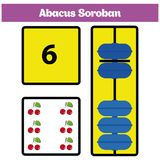 Abacus Soroban kids learn numbers with abacus, math worksheet for children. Vector Illustration Royalty Free Stock Image