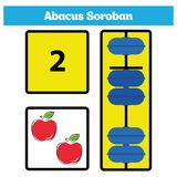 Abacus Soroban kids learn numbers with abacus, math worksheet for children Vector Illustration.  Royalty Free Stock Image