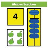 Abacus Soroban kids learn numbers with abacus, math worksheet for children Vector Illustration.  Royalty Free Stock Photography