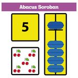 Abacus Soroban kids learn numbers with abacus, math worksheet for children Vector Illustration.  Stock Photos
