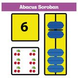 Abacus Soroban kids learn numbers with abacus, math worksheet for children Vector Illustration.  Stock Image